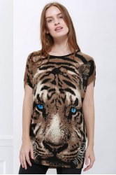 Tiger Print Graphic Tunic T-shirt -