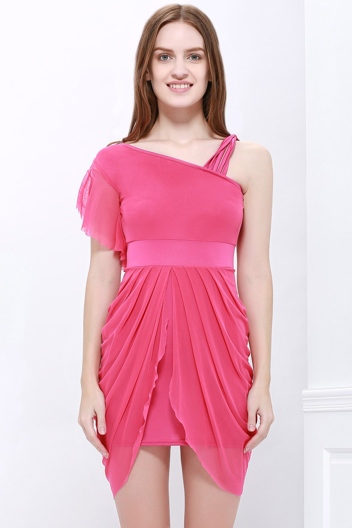 Cheap One Strap Ruffled Asymmetric Hem Tulip Bridesmaid Dress