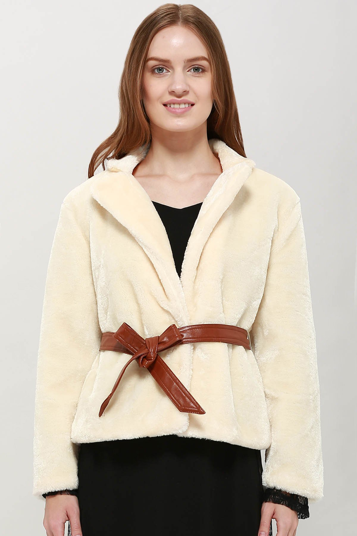 Latest Noble Lapel Faux Rabbit Fur Women's Coat With Belt