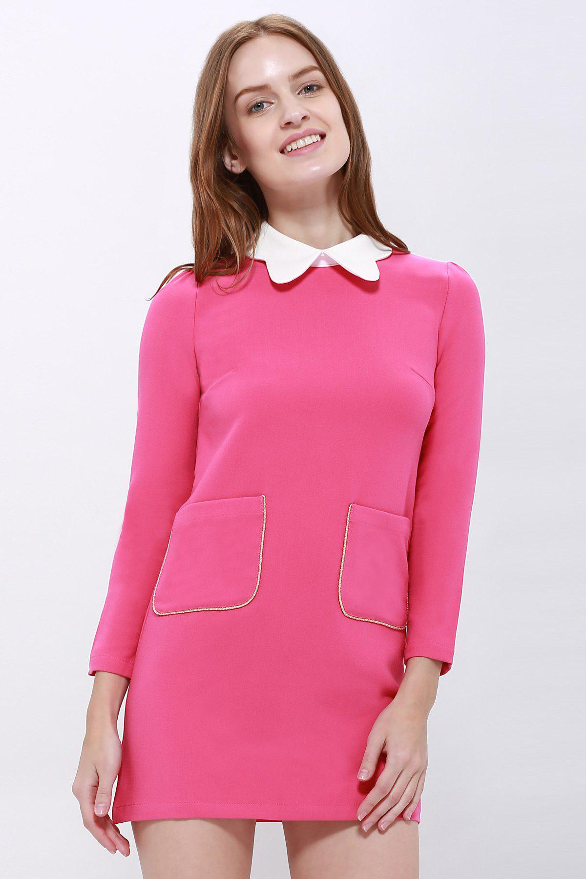 Trendy Simple Design Peter Pan Collar Pockets Embellished Long Sleeve Cotton Blend Women's Dress