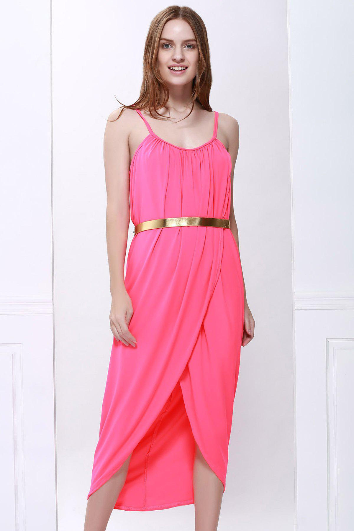 Sale Sexy Spaghetti Strap Sleeveless Solid Color Furcal Women's Dress