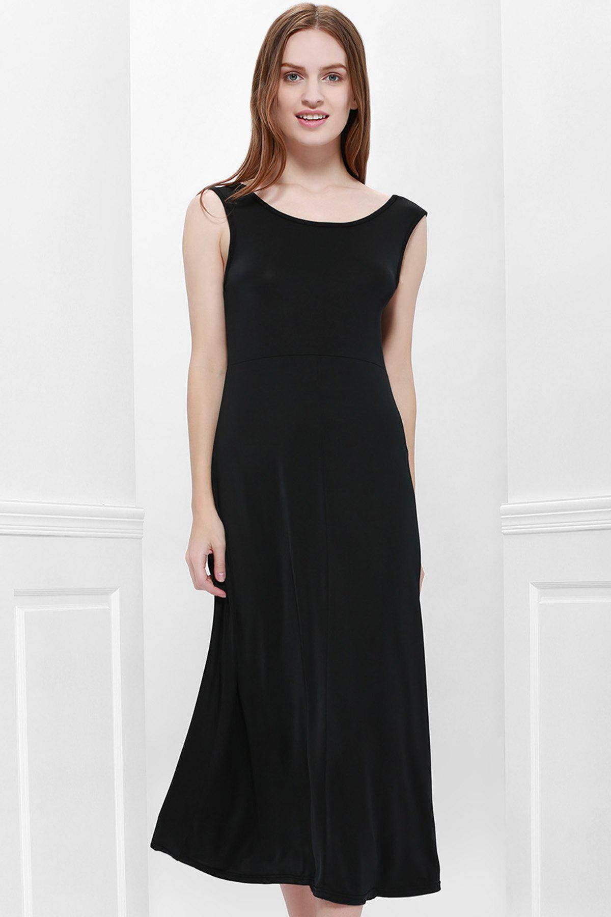 87e5f27f80 Online Bohemian Style Delicate Scoop Neck Solid Color V-Shape Backless  Black Sleeveless Maxi Dress