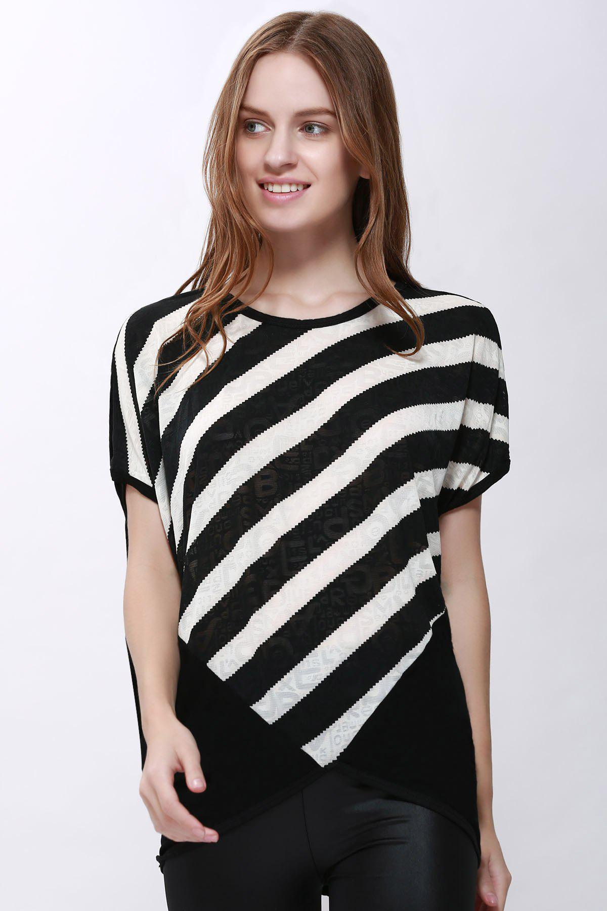 Scoop Neck Sloping Stripe Print Batwing Sleeve Womens Summer BlouseWOMEN<br><br>Size: XL; Color: BLACK; Style: Casual; Material: Polyester; Shirt Length: Regular; Sleeve Length: Short; Collar: Scoop Neck; Pattern Type: Striped; Weight: 0.189kg; Package Contents: 1 x Blouse;