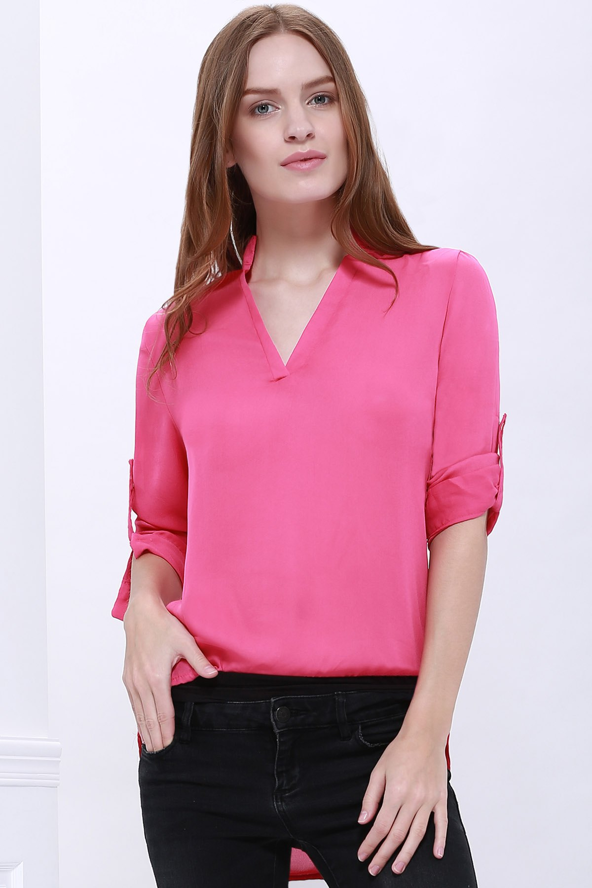 Online Casual Style 1/2 Sleeve Stand-Up Collar Solid Color Women's Blouse