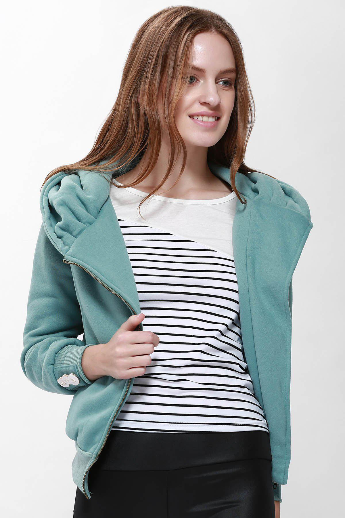 Best Fashionable Solid Color Long Sleeve Hoodie For Women