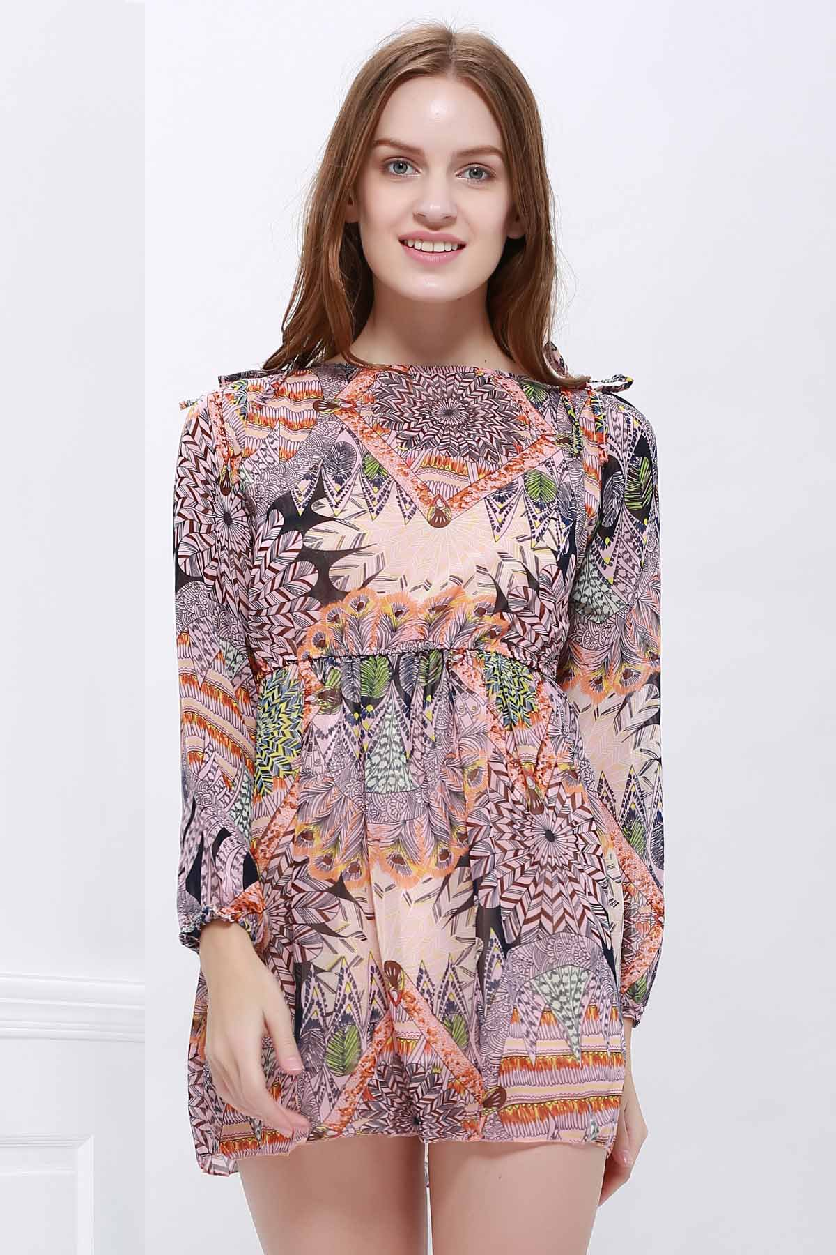 Printed Mini Chiffon DressWOMEN<br><br>Size: ONE SIZE; Color: COLORMIX; Style: Casual; Material: Polyester; Fabric Type: Chiffon; Silhouette: Straight; Dresses Length: Mini; Neckline: Round Collar; Sleeve Length: Long Sleeves; Pattern Type: Print; With Belt: No; Season: Spring,Summer; Weight: 0.2110kg; Package Contents: 1 x Dress;