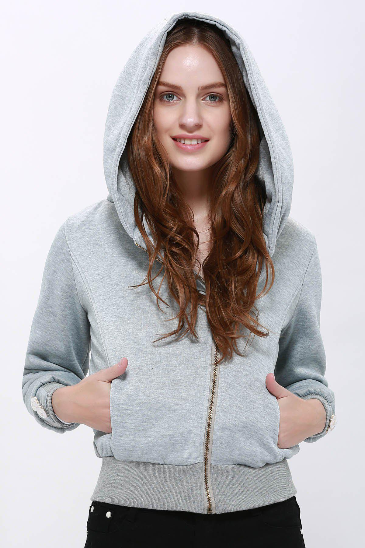 Store Fashionable Solid Color Long Sleeve Hoodie For Women