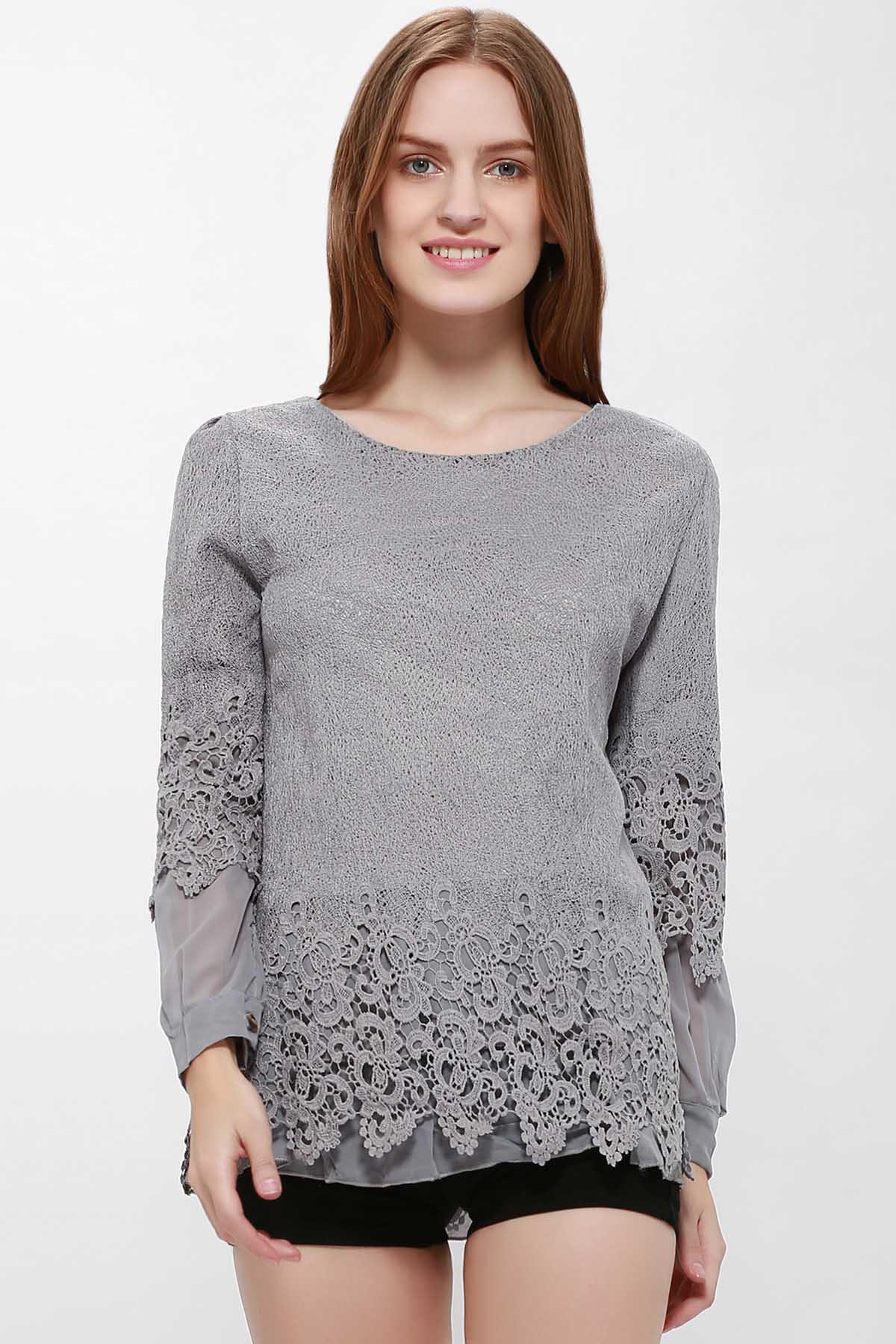 Lace Panel Long Sleeve Casual TopWOMEN<br><br>Size: XL; Color: GRAY; Material: Lace; Shirt Length: Regular; Sleeve Length: Full; Collar: Scoop Neck; Style: Casual; Embellishment: Lace,Panel; Pattern Type: Others; Weight: 0.3000kg; Package Contents: 1 x T-Shirt;