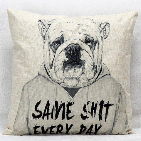 Hot Cartoon Dog Pattern Square Shape Synthesis of Linen Pillow Case (Without Pillow Inner)