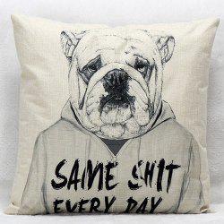 Cartoon Dog Pattern Square Shape Synthesis of Linen Pillow Case (Without Pillow Inner) -