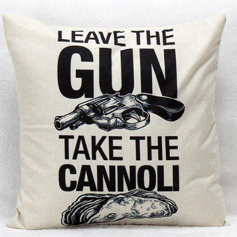 Gun and Letter Pattern Square Shape Synthesis of Linen Pillow Case(Without Pillow Inner) - COLORMIX