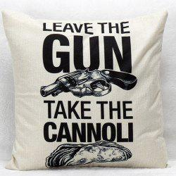 Gun and Letter Pattern Square Shape Synthesis of Linen Pillow Case(Without Pillow Inner) -