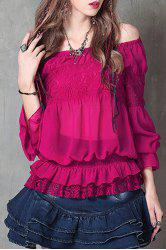Sweet Off-The-Shoulder Frilled Women's Chiffon Blouse