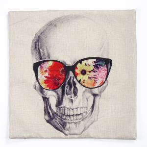 Glasses Skull Pattern Square Shape Synthesis of Linen Pillow Case (Without Pillow Inner) -