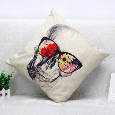 Chic Glasses Skull Pattern Square Shape Synthesis of Linen Pillow Case (Without Pillow Inner) - COLORMIX  Mobile