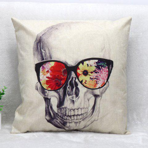 Outfit Glasses Skull Pattern Square Shape Synthesis of Linen Pillow Case (Without Pillow Inner)