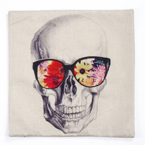 Discount Glasses Skull Pattern Square Shape Synthesis of Linen Pillow Case (Without Pillow Inner) - COLORMIX  Mobile