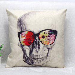 Glasses Skull Pattern Square Shape Synthesis of Linen Pillow Case (Without Pillow Inner)