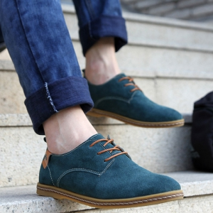 Simple Suede and Lace-Up Design Casual Shoes For Men - BLUE 41