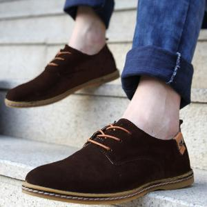 Simple Suede and Lace-Up Design Casual Shoes For Men - DEEP BROWN 40