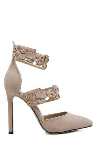Stylish Buckles and Hollow Out Design Pumps For Women - Apricot - 38