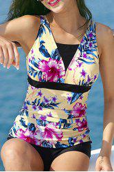 Vintage Floral Printed Pleated One-Piece Boxers Swimwear For Women -