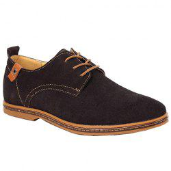 Simple Suede and Lace-Up Design Casual Shoes For Men - DEEP BROWN