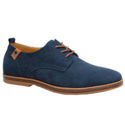 Simple Suede and Lace-Up Design Casual Shoes For Men - BLUE