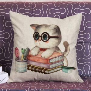 Lovely Kitten Pattern Square Shape Pillow Case (Without Pillow Inner) - Colormix