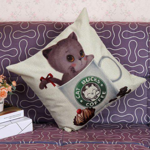 Online Lovely Kitten Printed Pattern Square Shape Pillow Case (Without Pillow Inner) - COLORMIX  Mobile