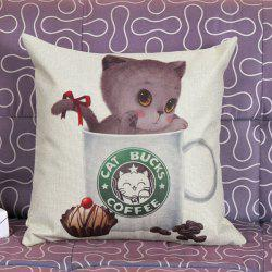 Lovely Kitten Printed Pattern Square Shape Pillow Case (Without Pillow Inner)