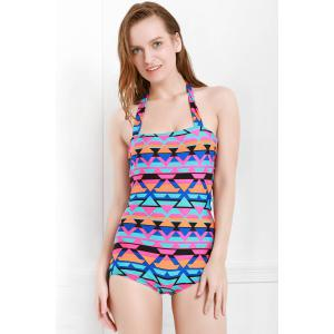 Stylish Halter Neck Printed Hollow Out One-Piece Swimsuit For Women