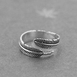 Vintage Feather Shape Cuff Ring - SILVER ONE-SIZE