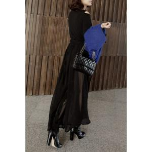 Long Sleeve Hollow Out Chiffon Flowing Dress - Black - One Size(fit Size Xs To M)