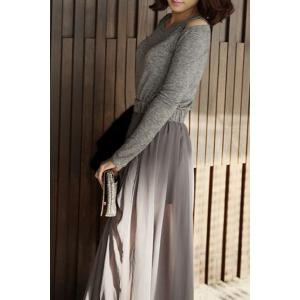 Long Sleeve Hollow Out Chiffon Flowing Dress -