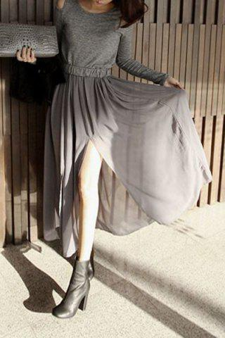 Fashion Long Sleeve Hollow Out Chiffon Flowing Dress