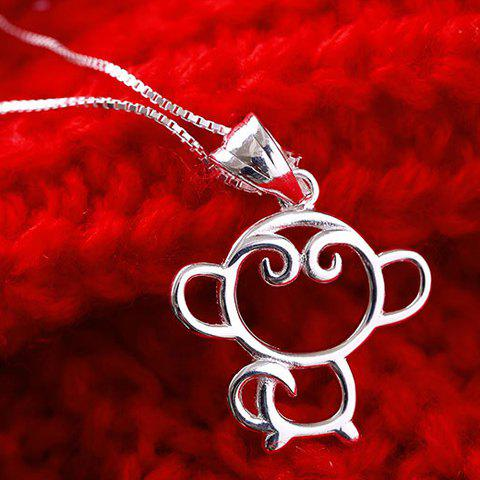 Shop Charming Monkey Hollow Out Pendant Necklace For Women