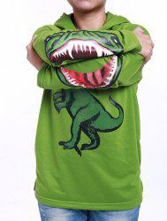 Fashionable Long Sleeve Dinosaur Print Hoodie For Boy - GREEN