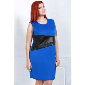 Stylish Scoop Neck Sleeveless Color Block Plus Size Women's Dress -