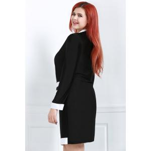 Stylish Turn-Down Collar Long Sleeve Color Block Plus Size Women's Dress -