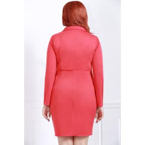 Graceful Lapel Red Long Sleeve Dress For Women - RED 2XL