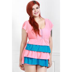 Short Sleeves Color Block Flouced Skirted One-Piece Swimwear