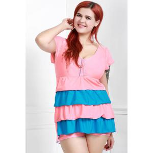Short Sleeves Color Block Flouced Skirted One-Piece Swimwear - PINK 3XL