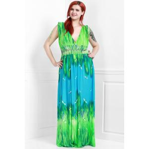 Sleeveless Plunging Neck Plus Size Hawaiian Maxi Dress -