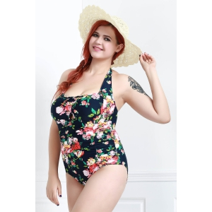 Stylish Halter Hollow Out Floral Printed Ruched One-Piece Swimwear For Women - CADETBLUE 3XL