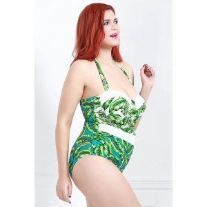 Fashionable Leaf Printed Plus Size One-Piece Swimwear For Women - GREEN L