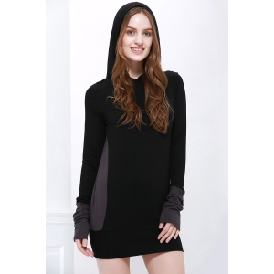 Stylish Hooded Long Sleeve Color Block Slimming Women's Hoodie