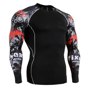 Sports Round Neck 3D Skulls Print Color Block Long Sleeves Sweat Dry Tight T-Shirt For Men - Black - 2xl