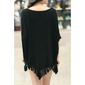 Stylish Scoop Neck Half Sleeve Printed Fringed T-Shirt For Women -