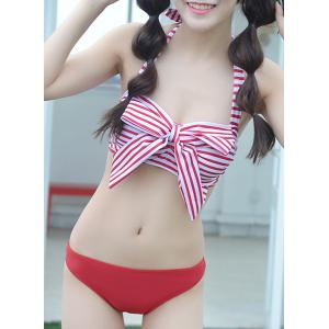 Refreshing Halter Striped Bowknot Design Bra and Briefs and Skirt Three-Piece For Women -
